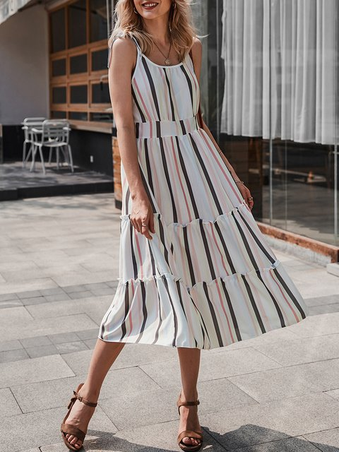 A-Line Date Floral-Print Stripes Dress
