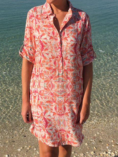 Women 3/4 Sleeves Printed Summer Shirt Dresses