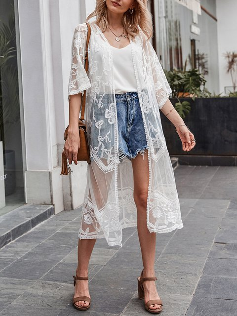 White Vintage Half Sleeve Solid Lace Kimono