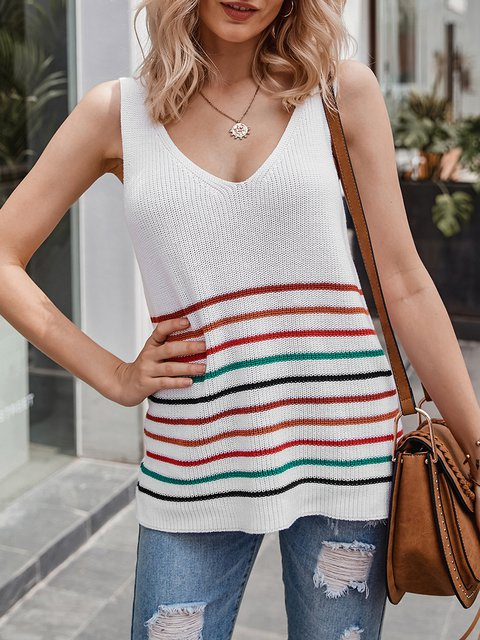 White Shift Sleeveless V Neck Stripe Top