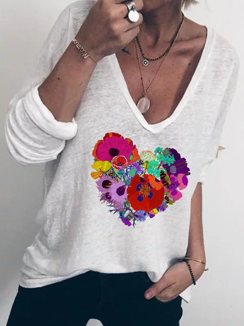 Women Floral Heart Print V-Neck Casual T-Shirts