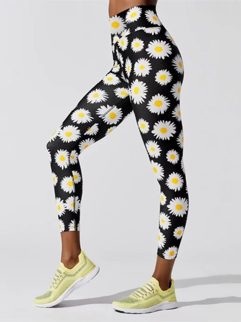 Daisy Print Sports Bodycon Yoga Pants Workout Running Leggings