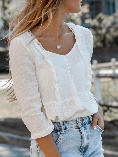 White Vintage Long Sleeve Shirts & Tops