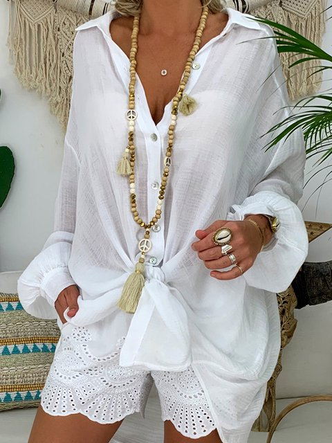 Casual Long Sleeve Solid Shirts & Tops