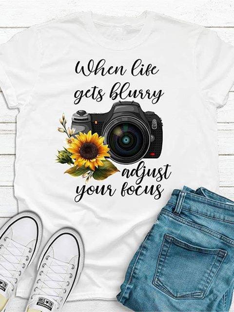 Sunflower Camera Letter Printed T-shirt
