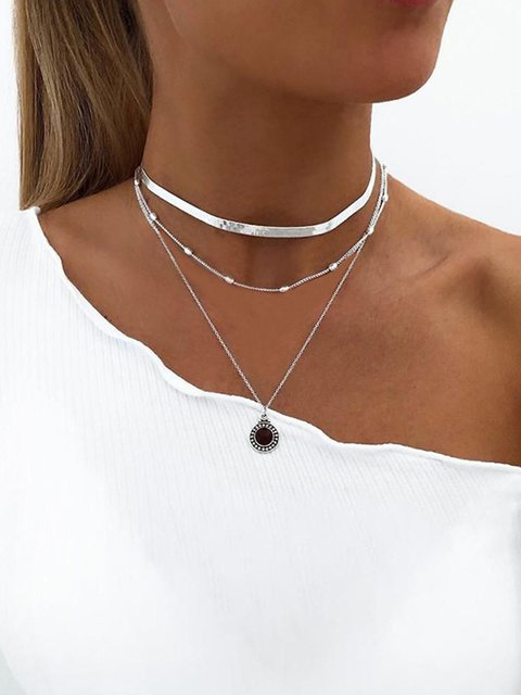 Simple short clavicle chain flat snake bone chain multi-layer necklace