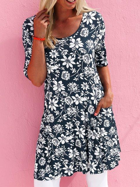 Bohemian print dress pocket loose daily dress