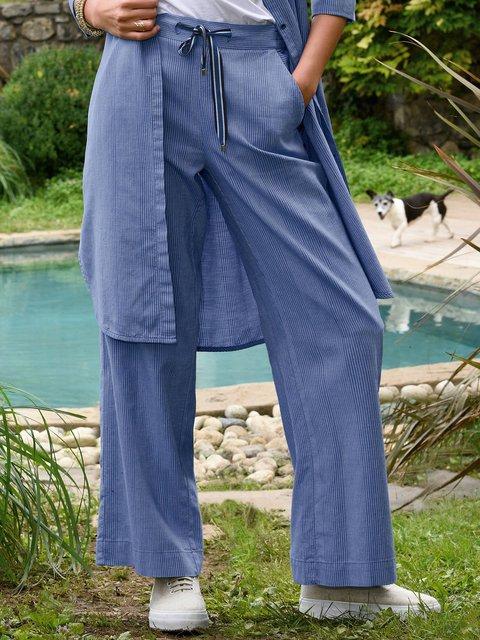 Women Striped Pants Plus Size Pockets Trousers