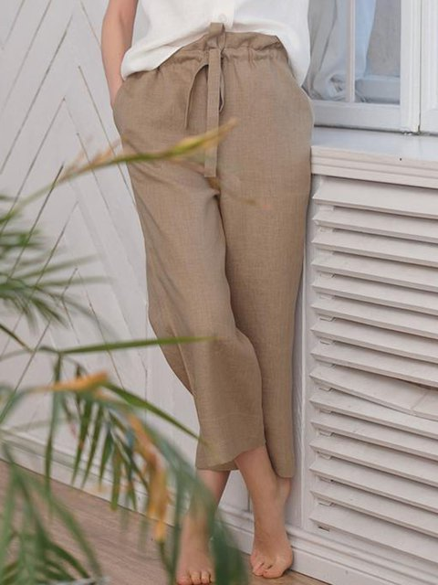 Drawstring Casual Linen Pants