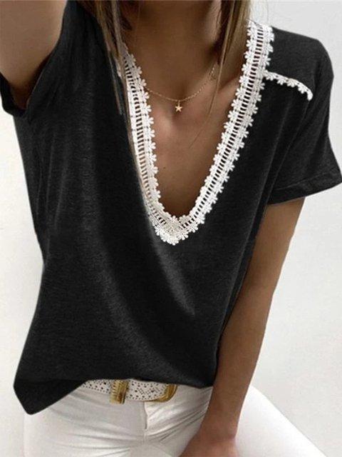 V Neck Casual Cotton-Blend Shirts & Tops