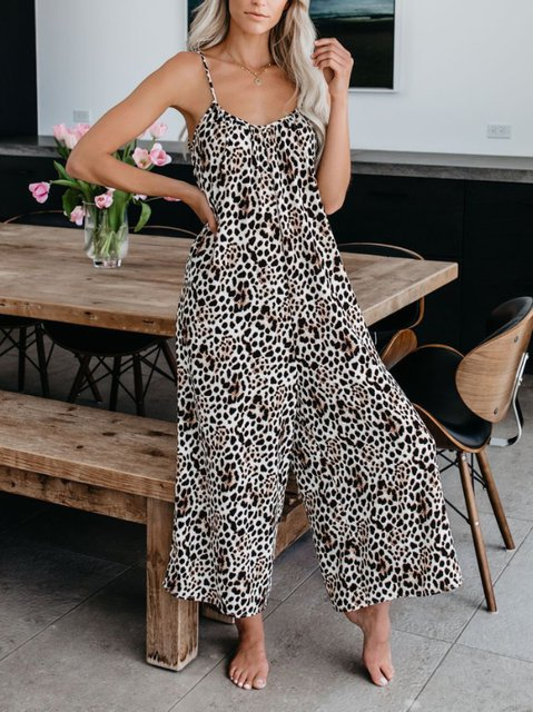 Casual Leopard Spaghetti One-Pieces Jumpsuits