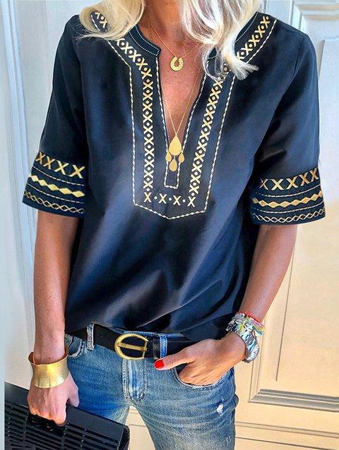 Boho V Neck Short Sleeve Embroidery Holiday T-Shirts & Tops