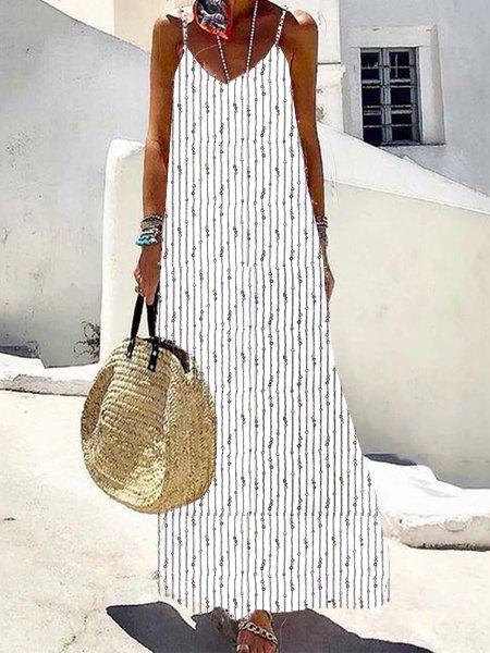 Striped geometric casual V-neck sleeveless pocket midi dress