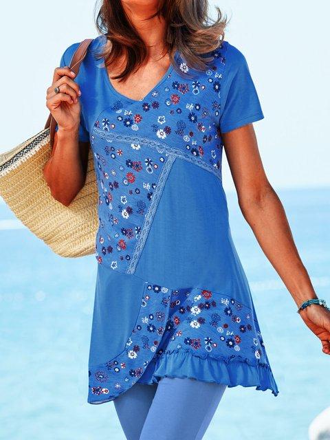 Plus Size Floral Blouses Short Sleeve Paneled Shirts