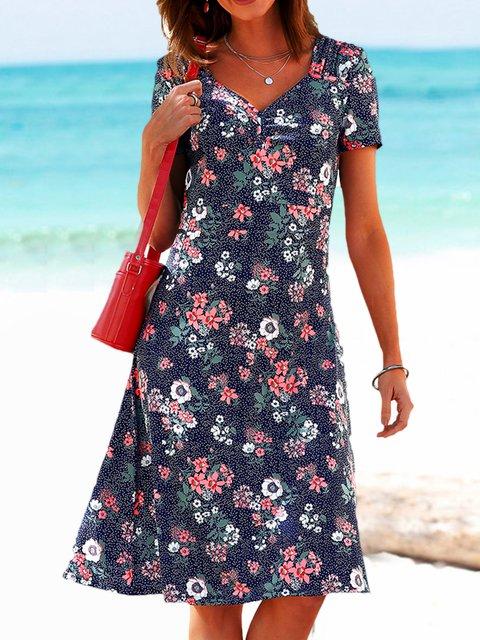 Floral Mini Dress Plus Size Summer Dresses
