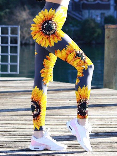 Blue Floral Floral-Print Sheath Sexy Pants