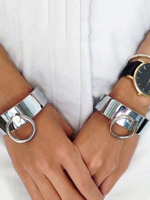 Women Alloy Silver Round Bracelets
