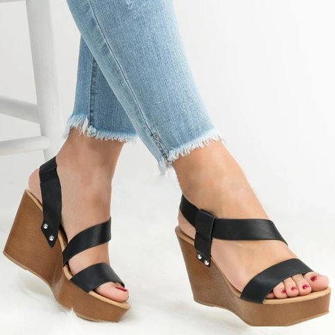 Slip-On Open Toe Womens Plus Size Wedge Heel Sandals