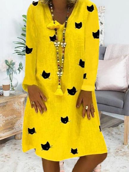 Cat Printed Casual Long Sleeve V-neck Midi Dress