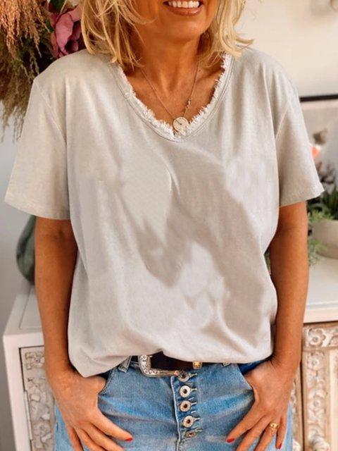 Casual basic simple short sleeve v-neck T-shirt