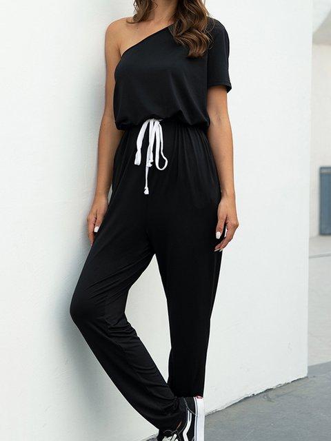 Black Pockets Casual Short Sleeve One Shoudler Jumpsuits