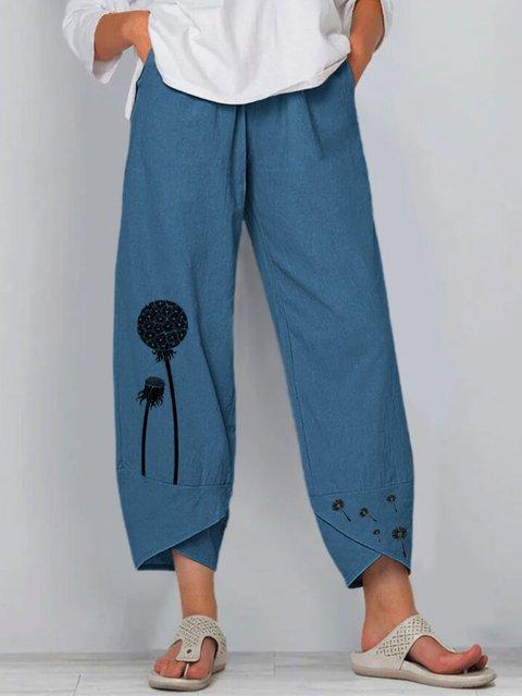 Blue Floral-Print Casual Pants
