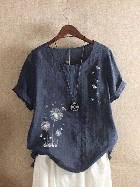 Navy Blue Floral-Print Casual Shirts & Tops