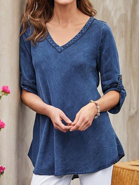 Plain V Neck Shift 3/4 Sleeve Shirts & Tops