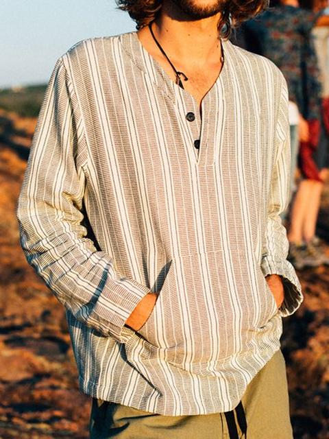 Khaki Casual Cotton-Blend Crew Neck Shirts & Tops