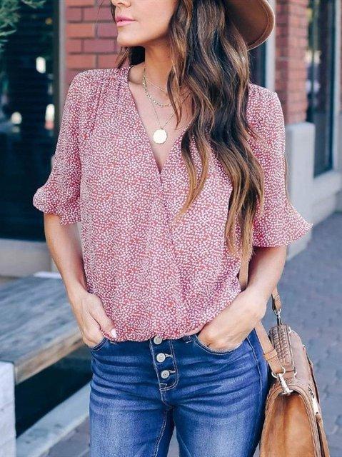 Casual Dots V Neck Ruffled Sleeve Shirts & Tops