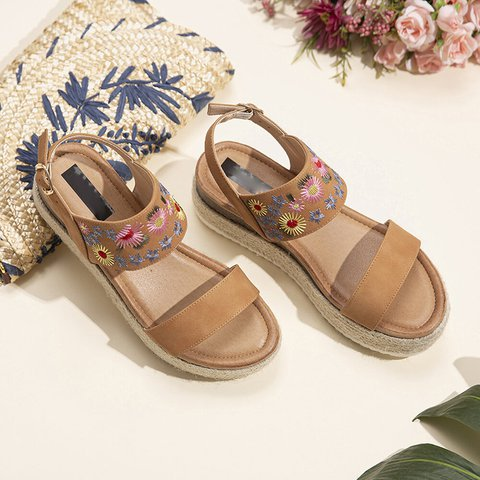 Sunflower Embroidered Woven Platform Platform Sandals