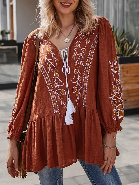 Rust Shift Boho Long Sleeve Embroidered Top