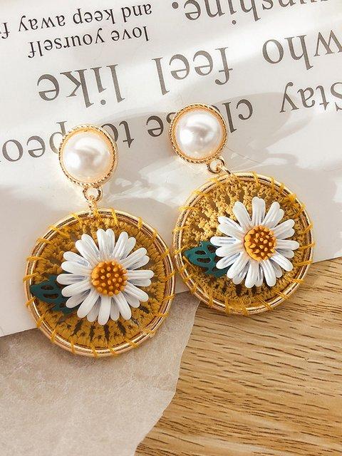 Sunflower Flower Earrings Woven Daisy Earrings