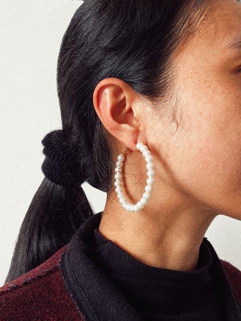 Women Alloy Pearl Earrings