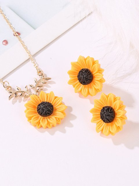 Sunflower Necklace Earring Set