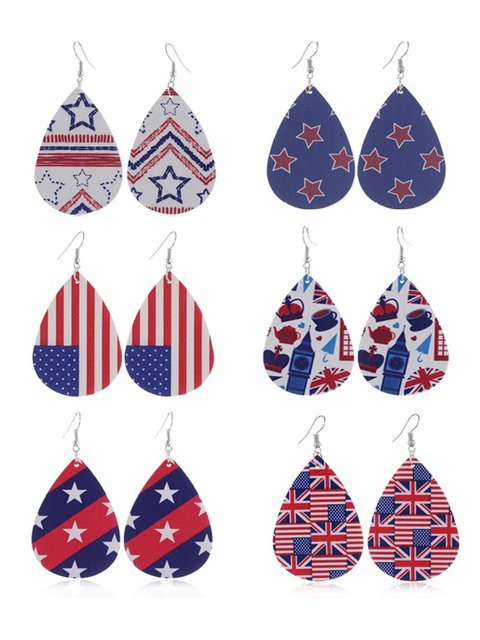 PU leather drop five-pointed star flag earrings
