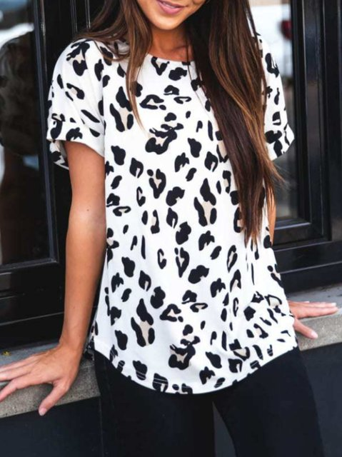 Short Sleeve Crew Neck Casual Printed Shirts & Tops