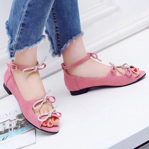 Women Buckle Strap Peep Toe Pu Low Heel Sandals