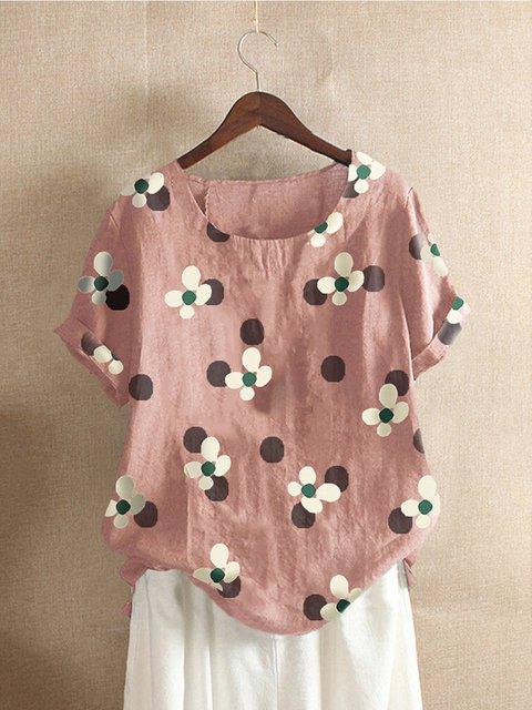 Short Sleeve Casual Floral Shift Shirts & Tops