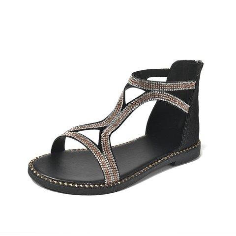 Date Rhinestone Artificial Leather Summer Sandals