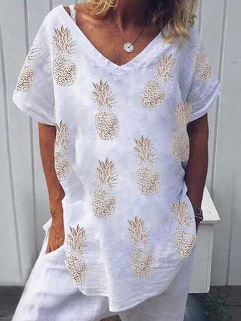 White Floral-Print Pineapples Short Sleeve Casual Shirts & Tops