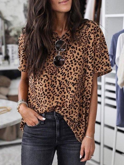 Leopard Short Sleeve Crew Neck T-Shirts