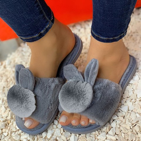 Women Cartoon Rabbit Home Indoor Plush Cotton Slippers
