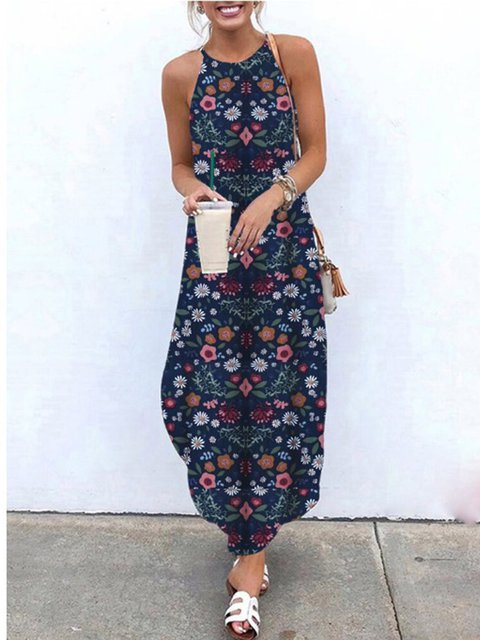 Floral Shift Casual Beach Holiday Halter Sleeveless Dresses