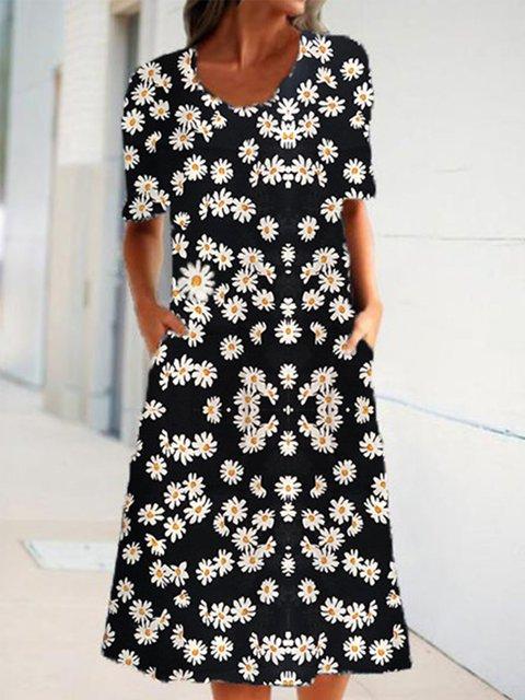 Black Pockets Short Sleeve Round Neck Dresses