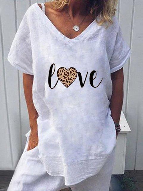 White Casual V Neck Linen Shirts & Tops