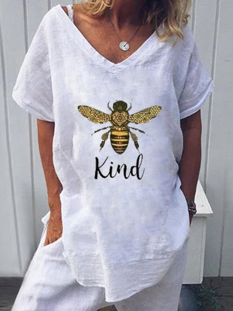 Bee Kind White Short Sleeve V Neck Shirts & Tops