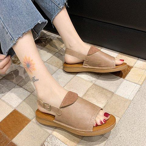 Women Peep Toe Pu Flat Heel Buckle Sandals