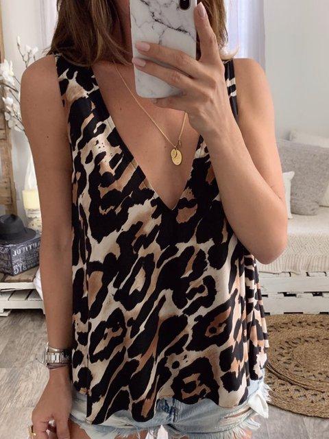 Leopard Printed Casual V Neck Sleevelss Vest