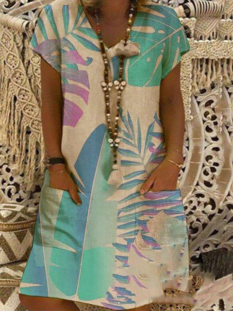 V Neck Daily Casual Printed Dresses